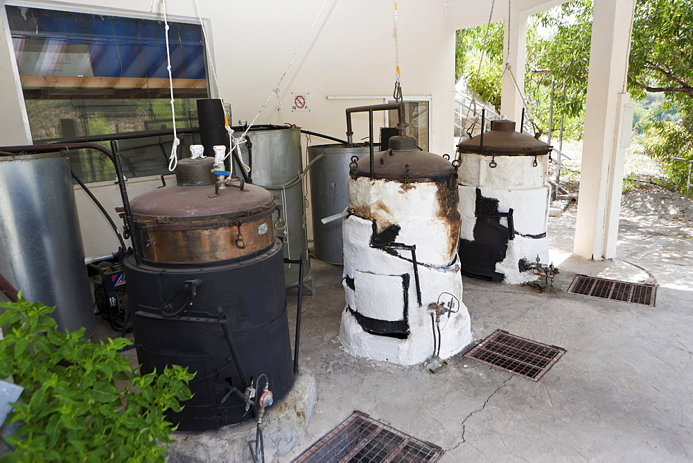 Traditional furnaces for the production of rose oils, House of Roses, Agros, Troodos Mountains, Central Cyprus
