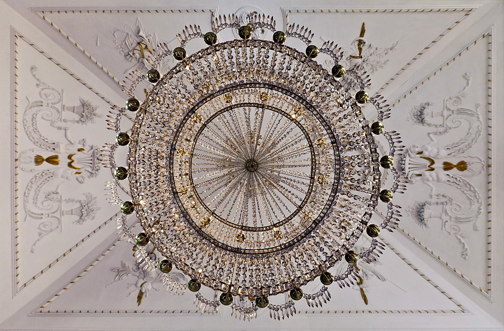 Chandelier from below, Schloss Fantaisie Palace, Bayreuth, Upper Franconia, Bavaria, Germany, Europe