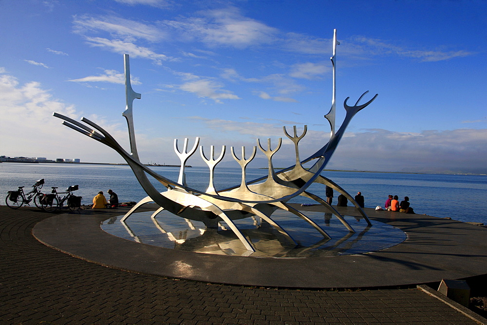 Solfar, Sun Voyager sculpture, Viking ship on the Snaebraut waterfront, Reykjavik, Iceland, Europe