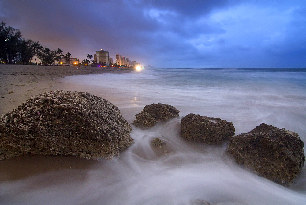 Fort Lauderdale beach at night, Florida, USA