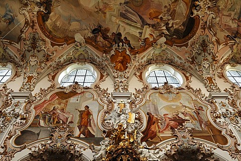 Nave with ceiling frescoes by Matthaeus Guenther, detail, Parish Church of the Nativity of the Virgin, Rococo style 1737-1746, Rottenbuch Abbey, Rottenbuch, Upper Bavaria, Germany, Europe