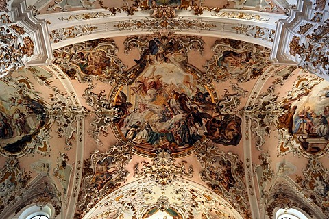 Ceiling fresco by Matthaeus Guenther in the Parish Church of the Nativity of the Virgin, Rococo style 1737-1746, Rottenbuch Abbey, Rottenbuch, Upper Bavaria, Germany, Europe
