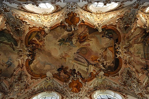 Ceiling frescoes by Matthaeus Guenther in the Parish Church of the Nativity of the Virgin, Rococo style 1737-1746, Rottenbuch Abbey, Rottenbuch, Upper Bavaria, Germany, Europe