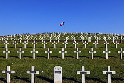 Crosses with names in the military cemetery on Blutberg hill with the French flag, Sigolsheim, Alsace, France, Europe
