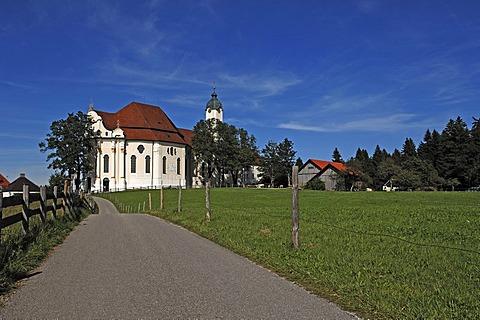 Wieskirche church, Rococo, 1745-1754, Wies 12, Wies Steingaden, Upper Bavaria, Bavaria, Germany, Europe