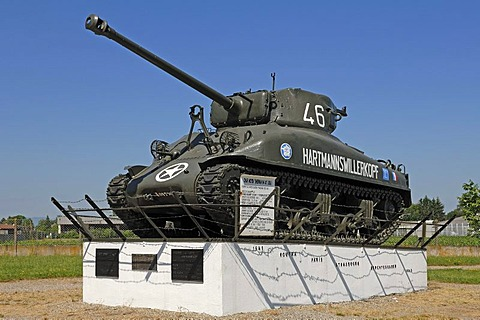 "American tank from 1943 from the Second World War, Char Moyen ""Sherman M4 A1"", Musee Memorial Maginot museum, 20 Rue Rhin, Marckolsheim, Alsace, France, Europe"