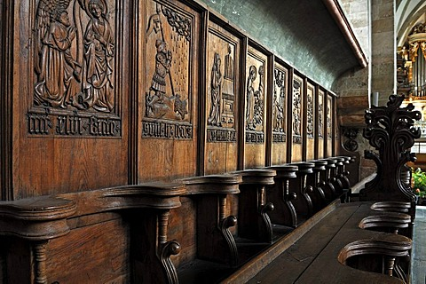 Choir stalls carved in 1446 by the Dominican monk Caspar Schokholcz, Domplatz 7, Merseburg, Saxony-Anhalt, Germany, Europe