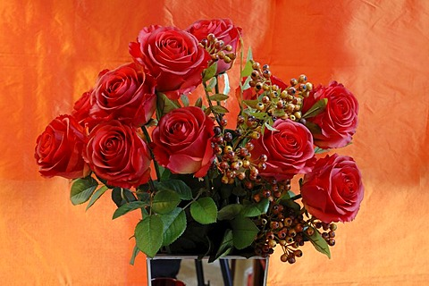 Artificial red silk roses in a vase in front of orange cloth, Villa & Ambiente, Nuremberg, Middle Franconia, Bavaria, Germany, Europe