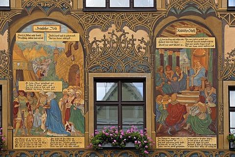 Detail, murals at the town hall, Marktplatz 1, Ulm, Baden-Wuerttemberg, Germany, Europe