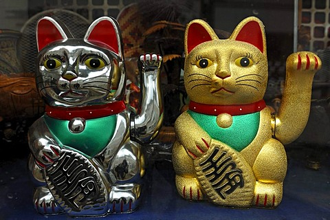 Two Chinese lucky cats in a China shop