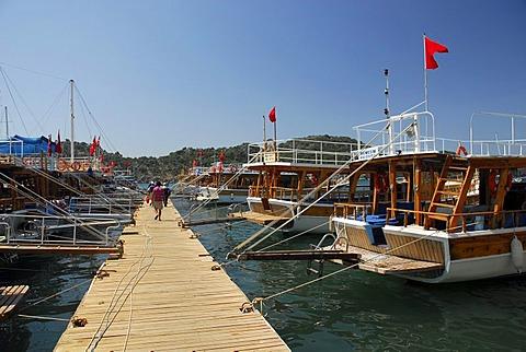 Boats in the harbor, Uecagiz, Kekova Bay, Lycian coast, Antalya Province, Mediterranean, Turkey, Eurasia