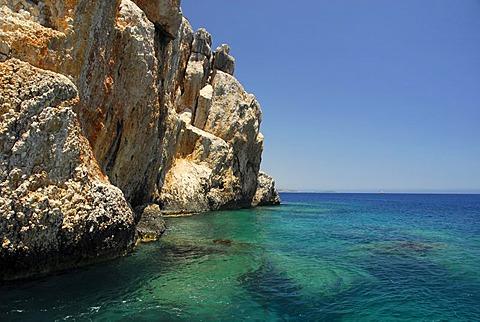 Rocky coast in the Kekova Bay, Lycian coast, Antalya Province, Mediterranean, Turkey, Eurasia