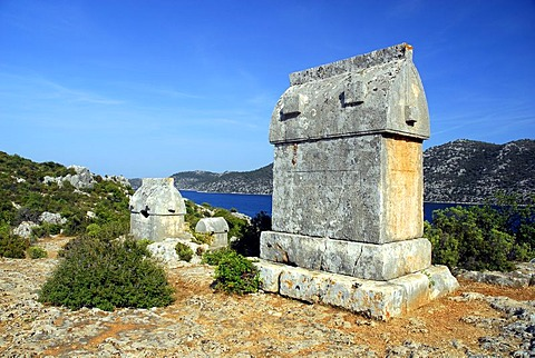 Lycian sarcophagus at the village of Kale, Kalekoey or Simena, Kekova Bay, Lycian coast, Antalya Province, Mediterranean, Turkey, Eurasia
