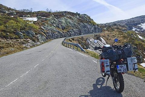 Enduro motorcycle by the roadside, Turtagro, Norway, Scandinavia, Europe