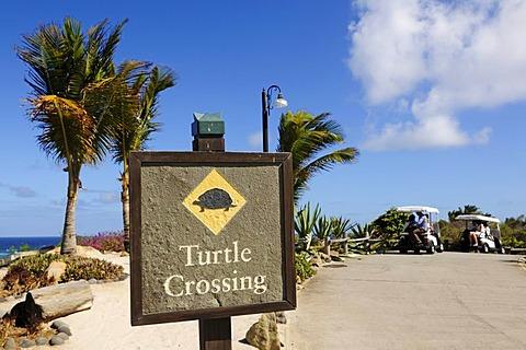 Turtle Crossing, sign, Raffles Resort, Canouan Island, Saint Vincent, Caribbean