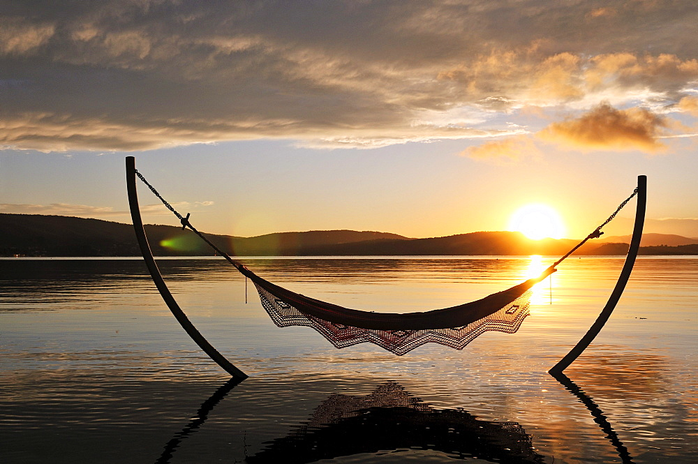 Hammock on the beach of Hotel Ekies, Vourvouru, Sithonia, Chalkidiki or Halkidiki, Greece, Europe - 832-130966