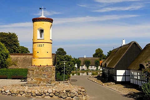 The famous yellow bell tower from 1857, Nordby, Samsoe, Denmark, Europe