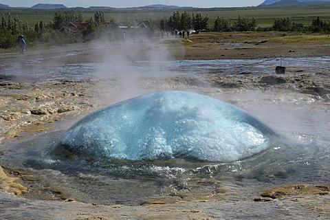 Water bell, Strokkur Geysir preparing to erupt, Haukadalur, Iceland, Europe