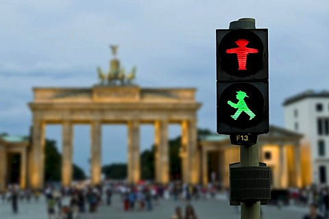 Brandenburg Gate with pedestrian traffic light, photo composition, Berlin, Germany, Europe