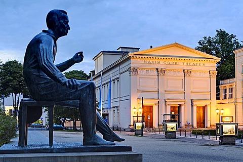 Heinrich Heine monument in front of the Maxim Gorki Theater, Berlin, Germany, Europe
