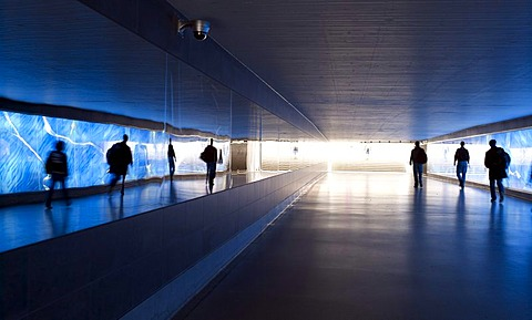 Modern pedestrian underpass with surveillance cameras