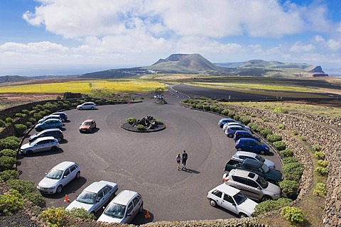 Round parking lot at the Mirador del Rio, built by the artist Cesar Manrique, Lanzarote, Canary Islands, Spain, Europe