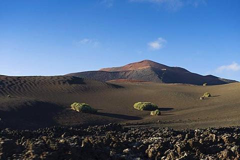 Volcanic landscape in Montana del Fuego de Timanfaya National Park, Lanzarote, Canary Islands, Spain, Europe