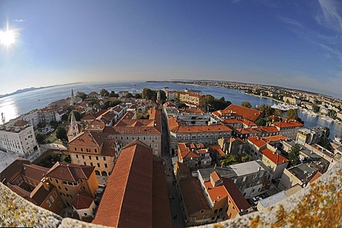 Fisheye, historic town centre, overlooking Zadar from the Campanile of Sveti Stosija, Zeleni Trg, Zadar, Croatia, Europe