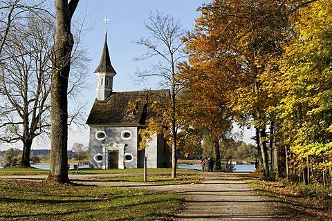 Seekapelle zum Heiligen Kreuz, Holy Cross Chapel, in autumn, Herreninsel island, lake Chiemsee, Chiemgau, Upper Bavaria, Germany, Europe