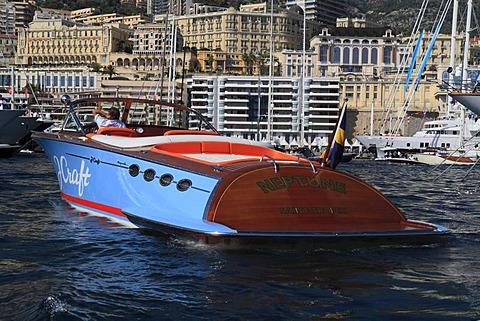 J Craft Torpedo Tender motor boat in Port Hercule, Monaco Yacht Show 2010, Principality of Monaco, Cote d'Azur, Mediterranean, Europe