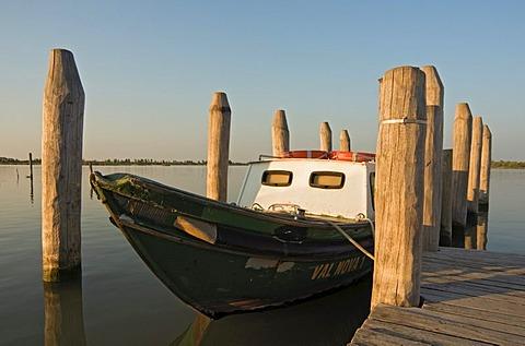 Fishing boat in Laguna di Caorle lagoon, Veneto, Italy, Europe