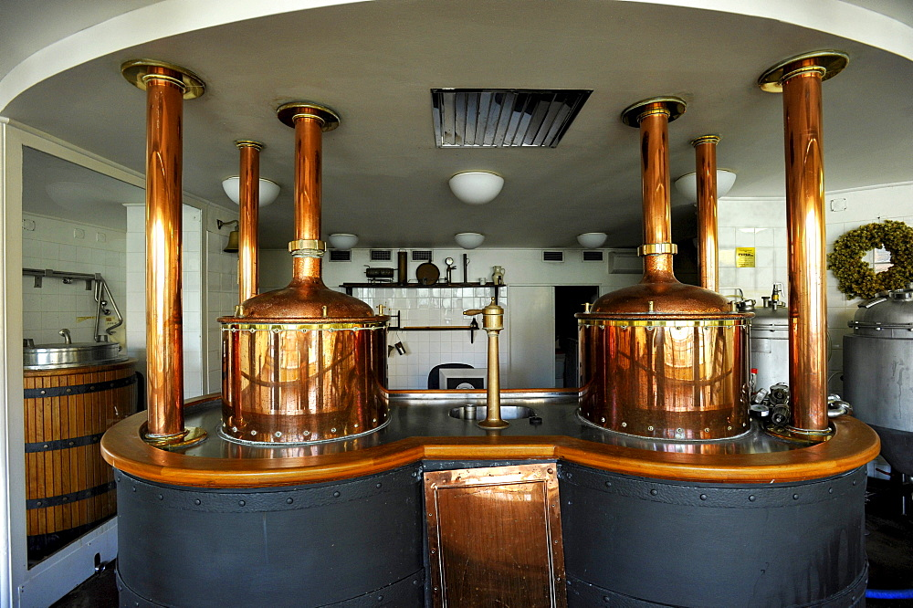 Brewhouse, brewing kettle of the historic Pilsner Urquell brewery, Pilsen, Bohemia, Czech Republic, Europe