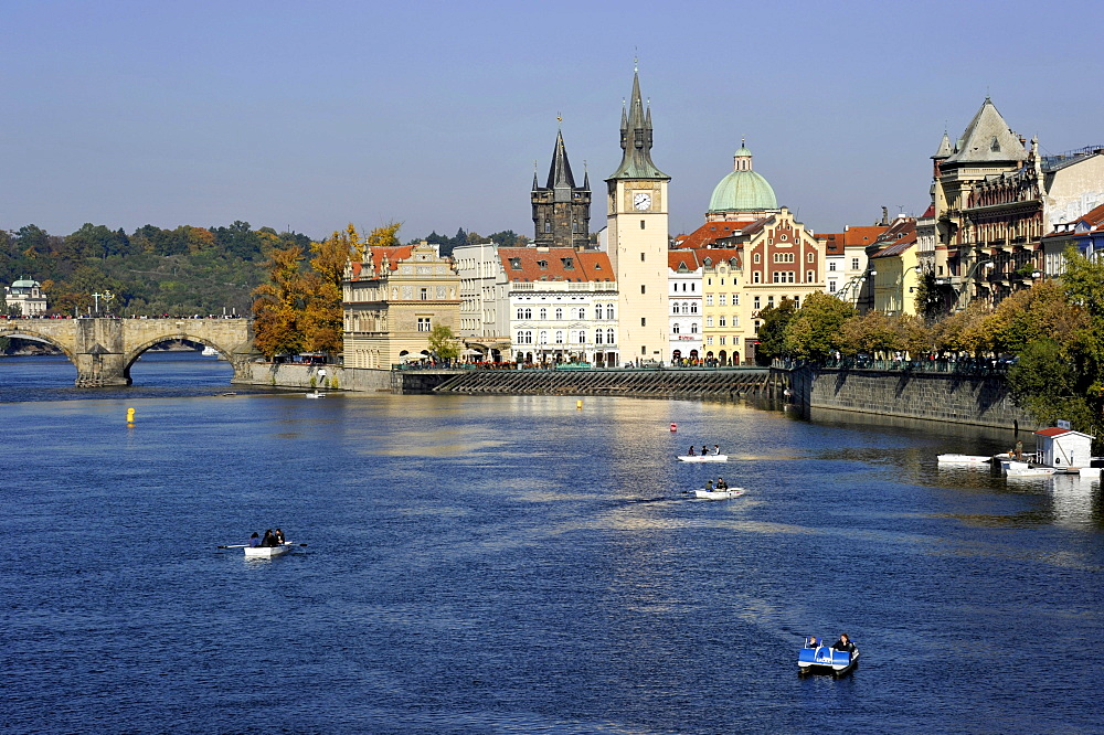 Vltava river, Charles Bridge, Smetana Museum in the former waterworks, Old Town Bridge Tower, water tower, dome of the Cross Church, Prague, Bohemia, Czech Republic, Europe