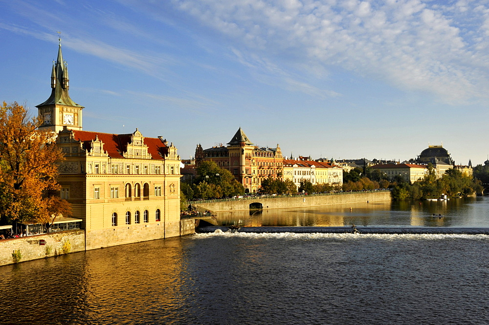 Vltava river, Smetana Museum in the former waterworks, water tower, Smetana quay, Prague, Bohemia, Czech Republic, Europe