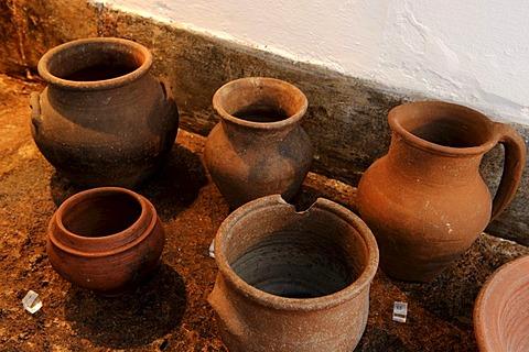 Ceramics in the Museu de Santa Maria in Santo Espirito on the island of Santa Maria, Azores, Portugal