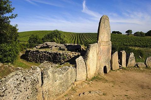 Giant's grave Coddu Vecchio, Tomba di Giganti Coddu Vecchiu or Coddu Eccju near Arzachena, Nuraghic culture, 2nd Millennium BC, Costa Smeralda, Olbia-Tempio Province, Sardinia, Italy, Europe