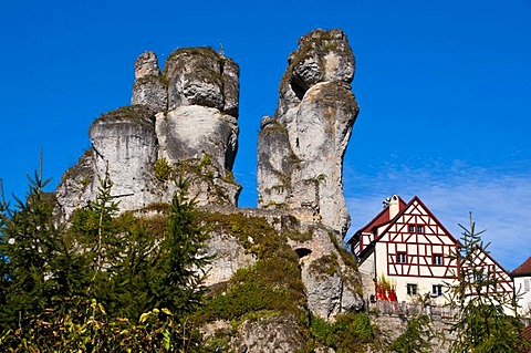 Rocky village of Tuechersfeld in the Franconian Switzerland, Bavaria, Germany, Europe