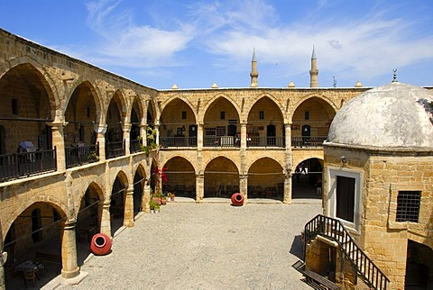 Courtyard of the historic Caravanserai Bueyuek Han with a domed tower, Nicosia, Lefkosa, Turkish Republic of Northern Cyprus, Cyprus, Mediterranean Sea, Europe