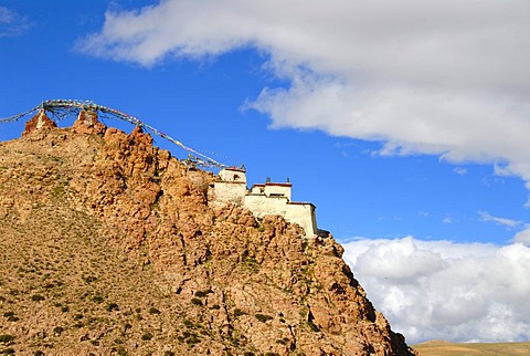 Tibetan Buddhism, monastery on the mountain slopes, rocks, Chiu Gompa, Gang-Tise-Mountains, Trans-Himalaya, Himalayas, Tibet Autonomous Region, People's Republic of China, Asia