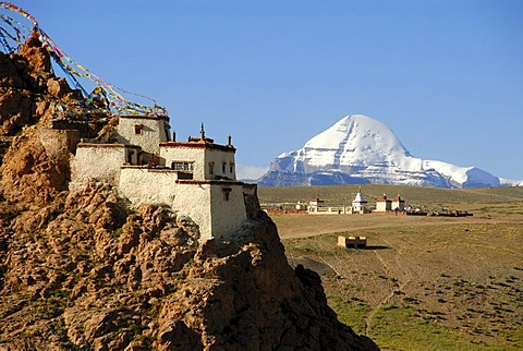 Tibetan Buddhism, monastery on the mountain slope, rocks, Chiu Gompa, snow-covered sacred Mount Kailash, south side with channel, Gang-Tise-Mountains, Trans-Himalaya, Himalayas, Tibet Autonomous Region, People's Republic of China, Asia