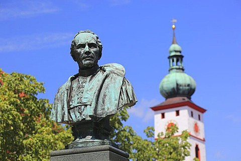 Monument of Johann Andreas Schmeller in front of the Parish Church of the Assumption, Tirschenreuth, Upper Palatinate, Bavaria, Germany, Europe