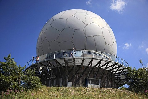 Former radar dome, radome, now viewing platform and exhibition space, Mt. Wasserkuppe, Rhoen, Hesse, Germany, Europe