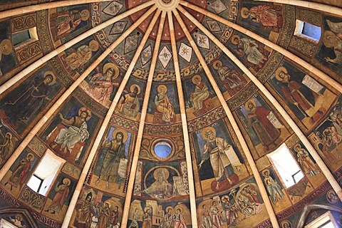 Dome fresco in the Baptistery, Parma, Emilia Romagna, Italy, Europe