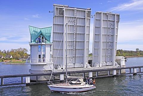Bascule bridge, Kappeln, Schlei Inlet, Schleswig-Holstein, Germany, Europe