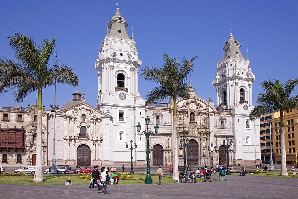 Cathedral at Plaza Mayor, Lima, Peru, South America, South America