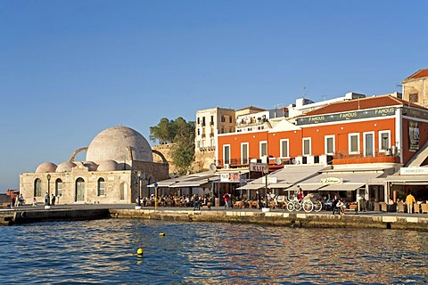 Mosque of the Janissaries at the Venitian Harbour of Hania, Crete, Greece, Europe