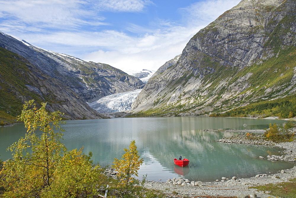 Glacial lake and glacier tongue of Nigardsbreen at Jostedal, Norway, Scandinavia, Europe