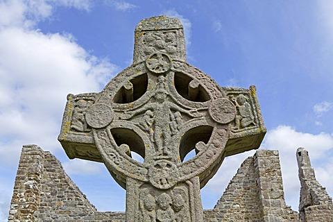 High Cross, Round Cross, Clonmacnoise, County Offaly, Ireland, Europe
