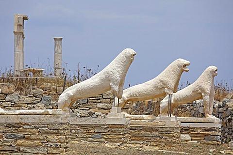Lion statues, Delos island, Cyclades, Aegean Sea, Greece, Europe