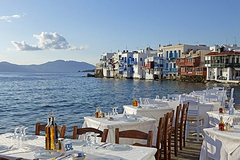 Little Venice, Mykonos town, Mykonos island, Cyclades, Aegean Sea, Greece, Europe